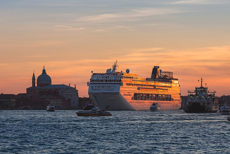 VENICE, ITALY - OCTOBER 07, 2017:  an MSC cruise ship on sunset royalty free stock image
