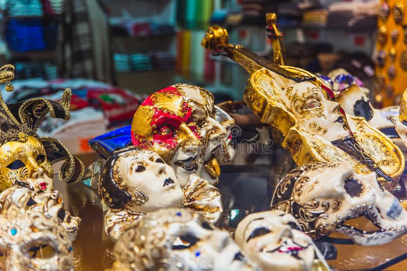 VENICE, ITALY - OKTOBER 27, 2016: Authentic colorfull handmade venetian carnival mask in Venice, Italy royalty free stock images