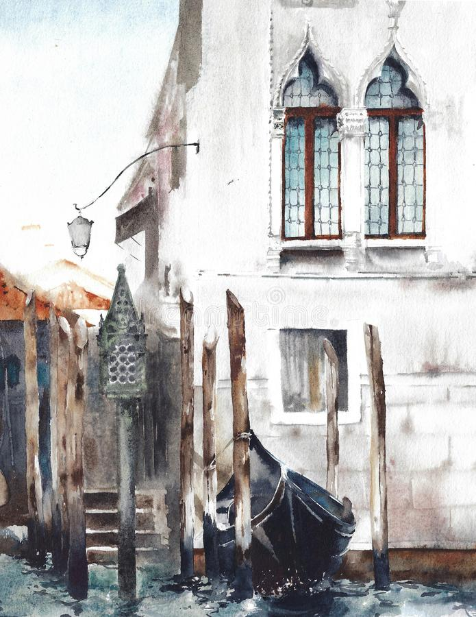 Venice Italy old building gondola window watercolor painting illustration royalty free illustration