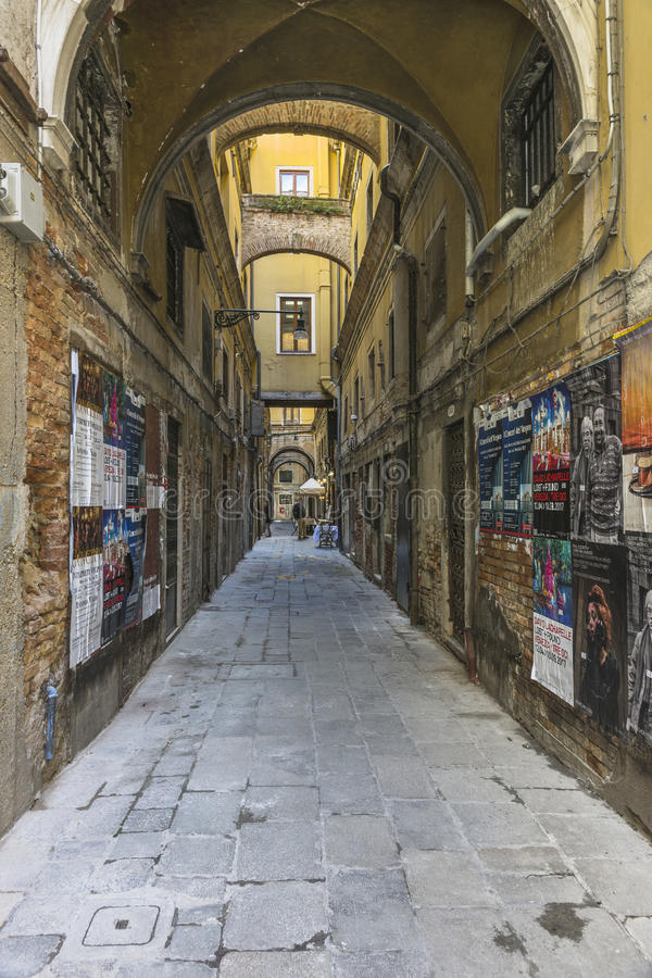 Venice in Italy. One of the many side streets in Venice without tourists , Italy . Europe stock image