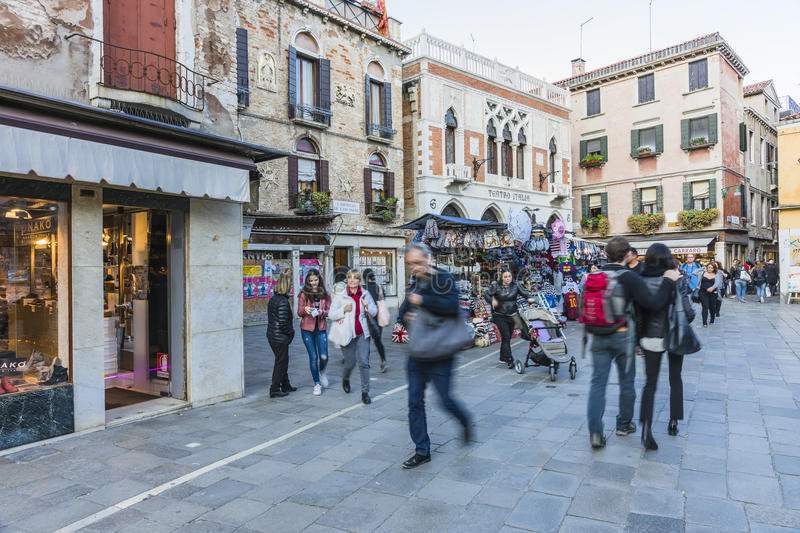 Venice in Italy. One of the many streets with tourists, restaurants and shops in Venice , Italy. Europe stock image
