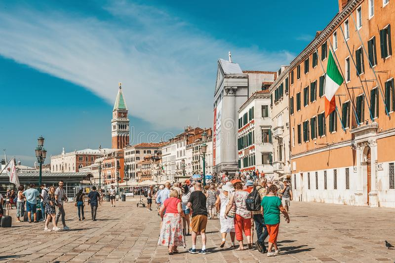 Venice, Italy, 4 September 2018. Venice is a city of Italy. Tourists walk along the promenade of the city, the landscape of the stock images