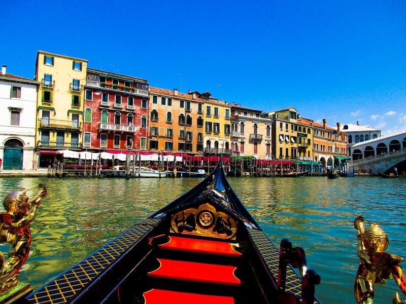VENICE, ITALY - SEPTEMBER 19. 2018: Gondola boat trip on venetian grand and small chanels stock photos