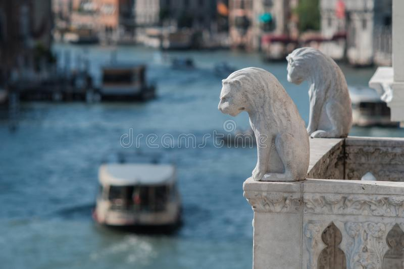 Venice, Italy, Lions on the balcony of the Ca de Oro palace over the Grand Canal in Venice stock photos