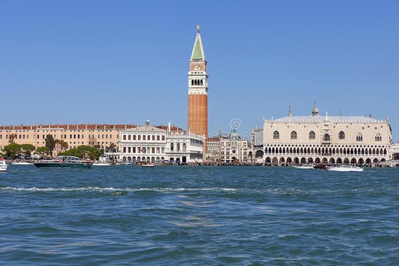 St Mark`s Campanile , bell tower and Doge`s Palace on Piazza San Marco, Venice, Italy royalty free stock image