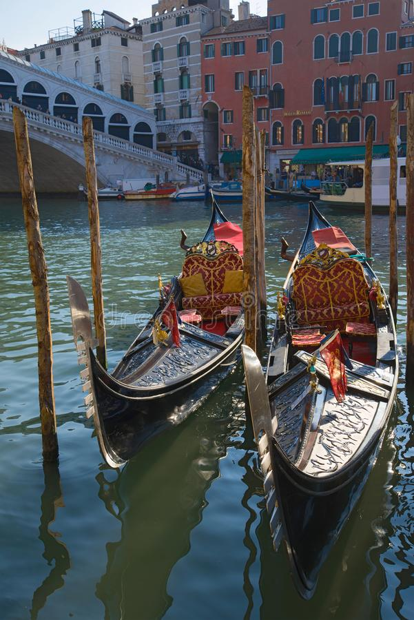Two gondolas on the Grand canal close-up, Venice royalty free stock photos