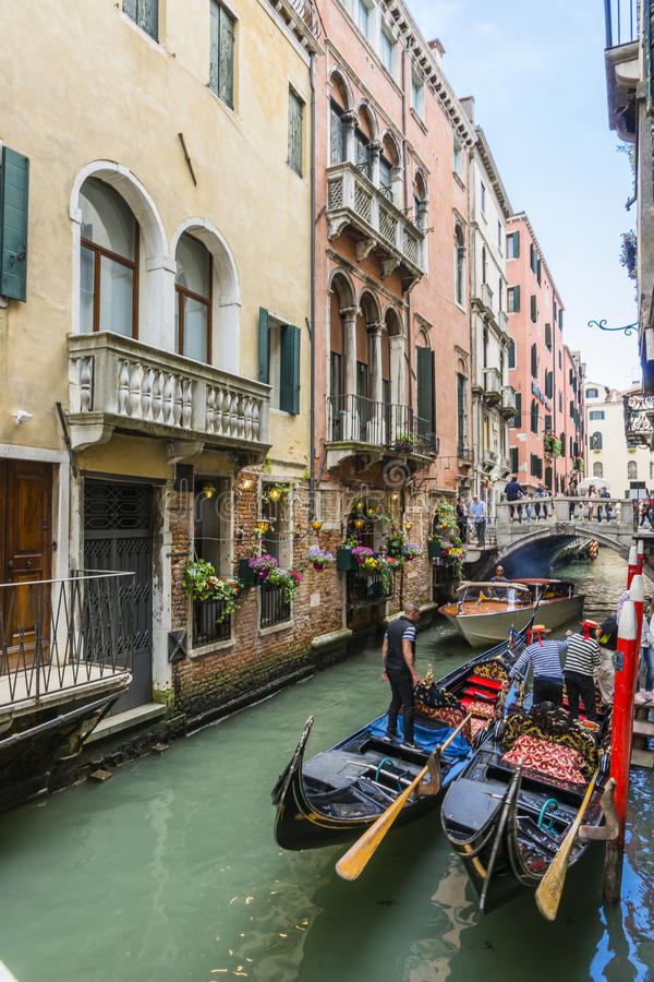 Venice in Italy. Small canal with gondolas in Venice , Italy , Europe stock photography