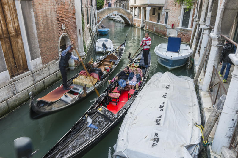 Venice in Italy. Small canal with gondolas in Venice , Italy , Europe royalty free stock image