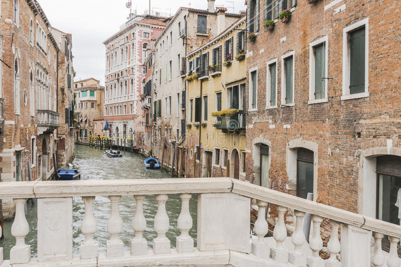 Venice in Italy. Small canal , view from the bridge in Venice , Italy , Europe stock photo