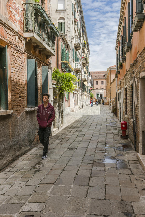Venice in Italy. Street and people in Venice , Italy , Europe royalty free stock photos
