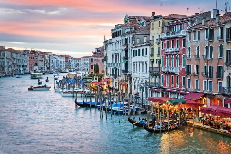 Venice Italy, sunset on the Grand Canal. From the rialto bridge stock photos