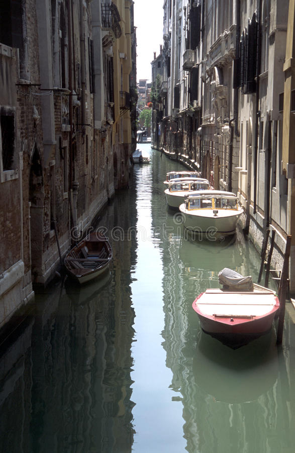 Venice26. Venice lagoon and boats in the alleys royalty free stock photo