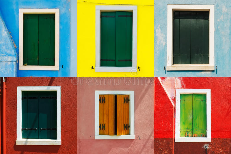 Venice landmark, Burano colorful house windows collection, Italy. Europe royalty free stock photography
