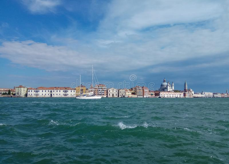 Venice landmark, view from the sea on the square. Italy stock image