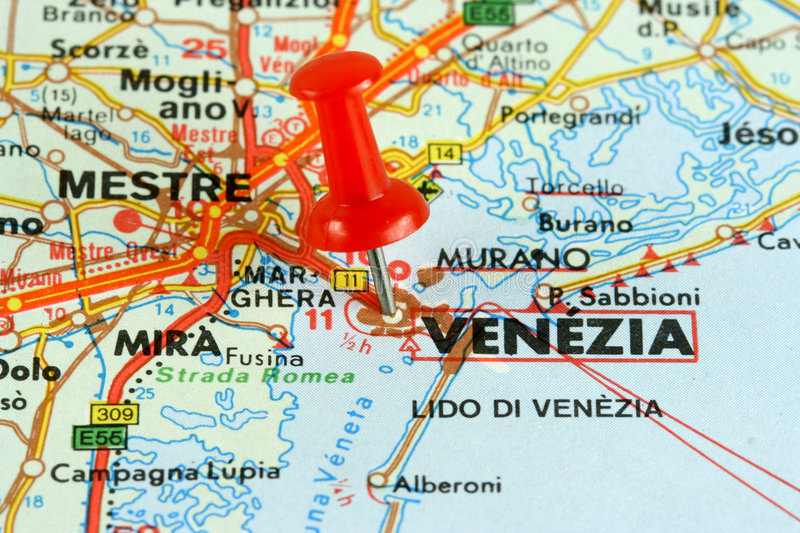 Venice on the map royalty free stock photos