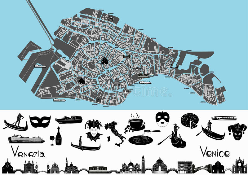 Venice Map With Symbols And Landmarks Stock Vector Illustration Of