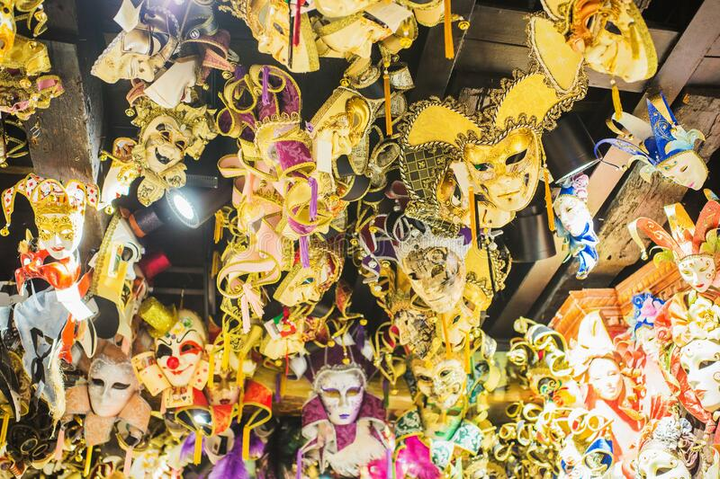 Venice mask. Colored venetian masks on a shop window. Carnival in Venice. Tourism in Italy. Celebration atmosphere. Festive. Background. Style and fashion royalty free stock photos