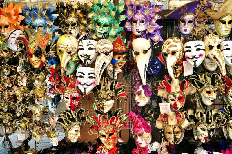 Venice masks in an italian market stock images