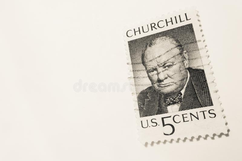 VENICE - MAY 01: US 5 cent used stamp with Winston Churchill (US. Postal service - author's name not mentioned in the original stamp) MAY 01, 2015 in Venice stock photography