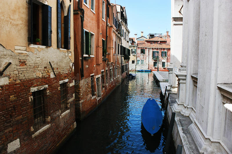 Venice narrow water channel stock photos