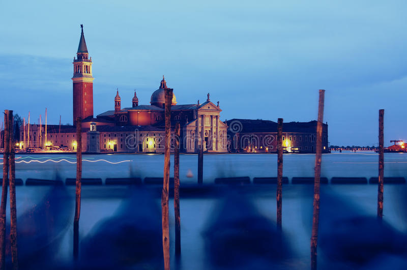 Venice by night stock image