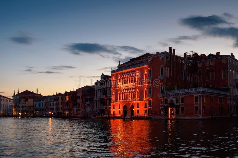 Venice at night, Italy. Beautiful illuminated building on Grand Canal royalty free stock image
