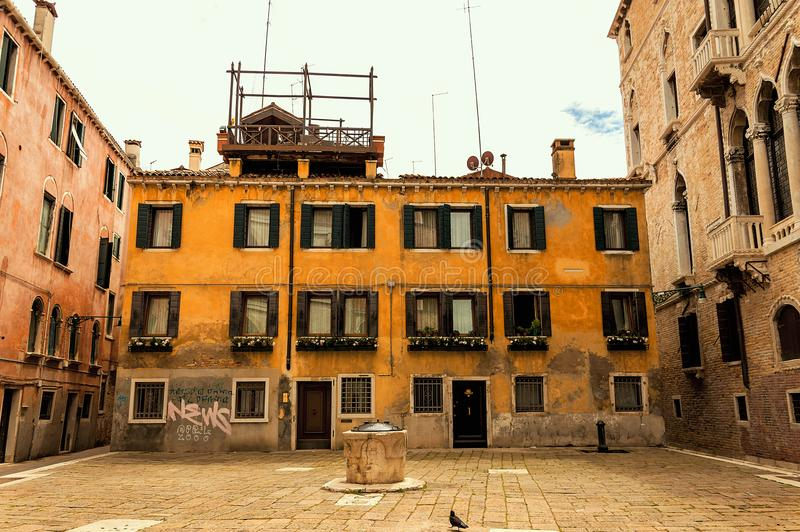 Little square in the medieval center of Venice stock photo