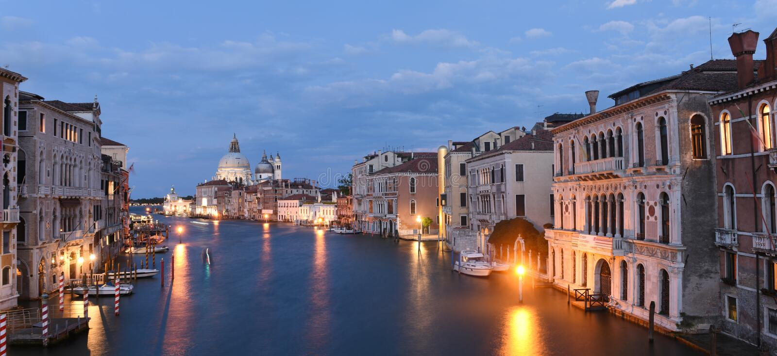 Venice panorama at night with Grand Canal and Basilica Santa Mar stock photography
