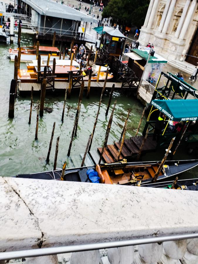 Venice. photos taken during a rainy day near the train station. images colored by the color of the wet walls that accentuate the stock photos