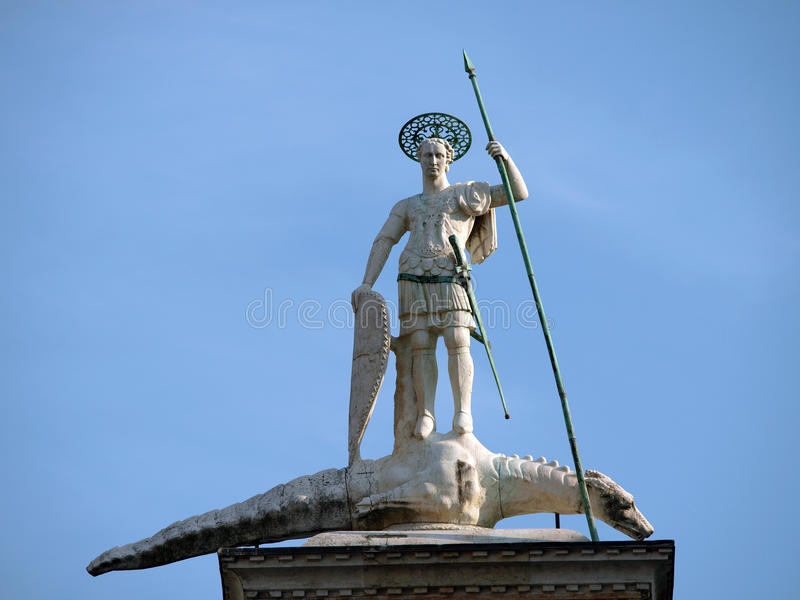 Venice. Piazetta - Sculpture Of St. Theodore Royalty Free Stock Images