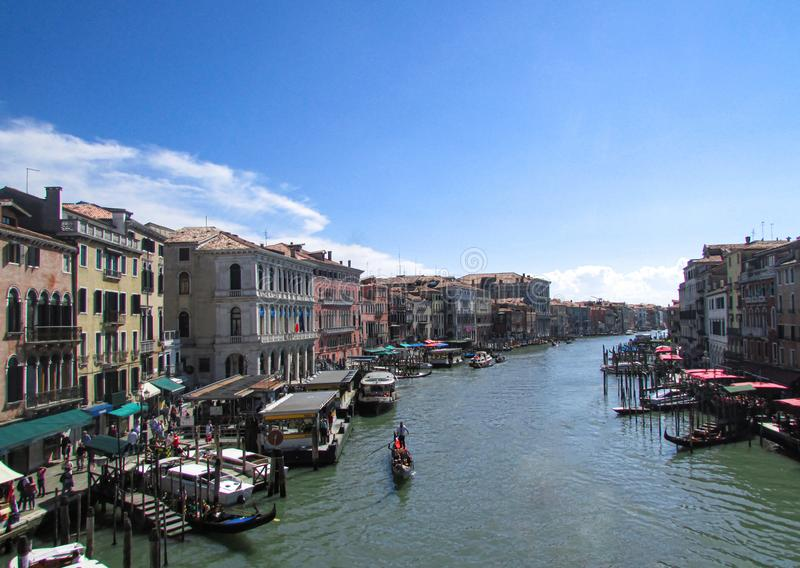 Grand Canal in Venice Italy taken from atop the Rialto Bridge stock photography