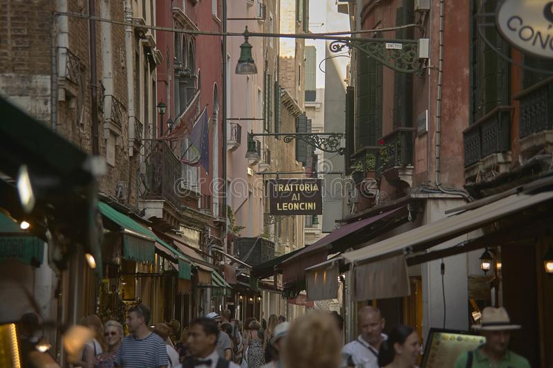 Venetian alley crowded royalty free stock image