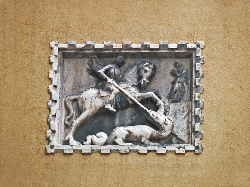 Venice: saint George and the dragon stock photography
