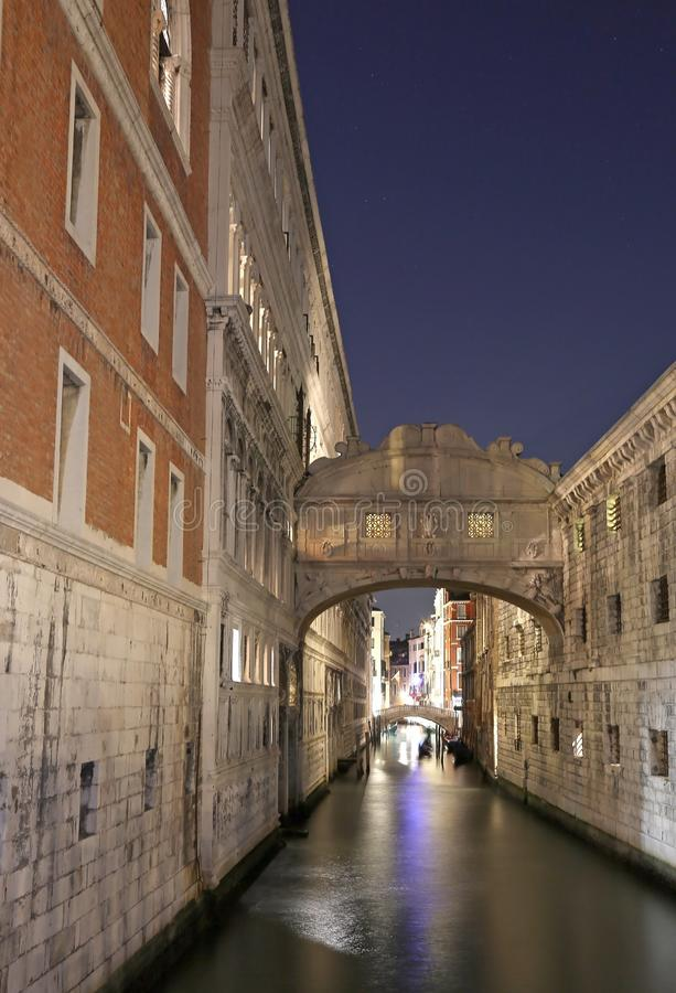 VENICE of Sighs at night using long exposure stock image