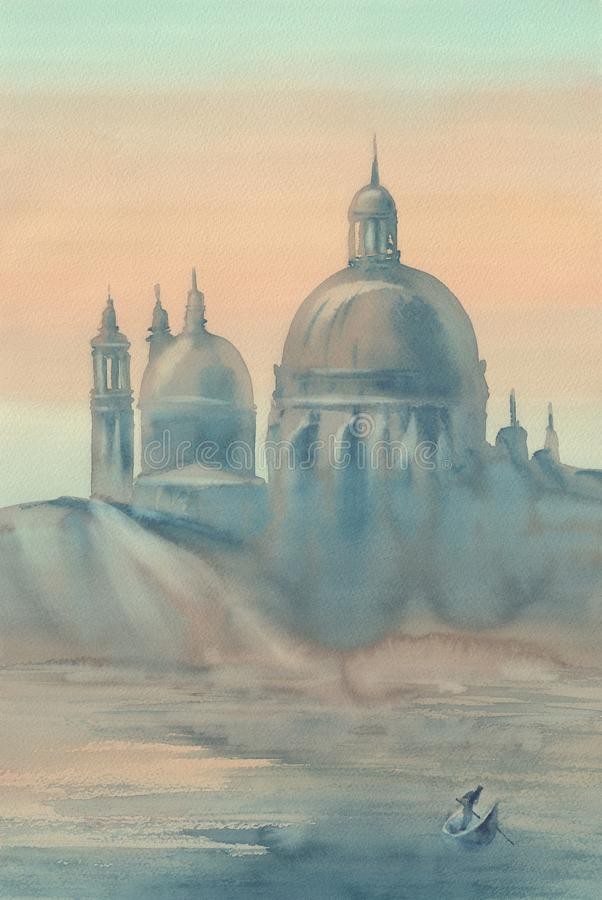 Free Venice Silhouette In The Morning Mist Watercolor Stock Images - 102989464