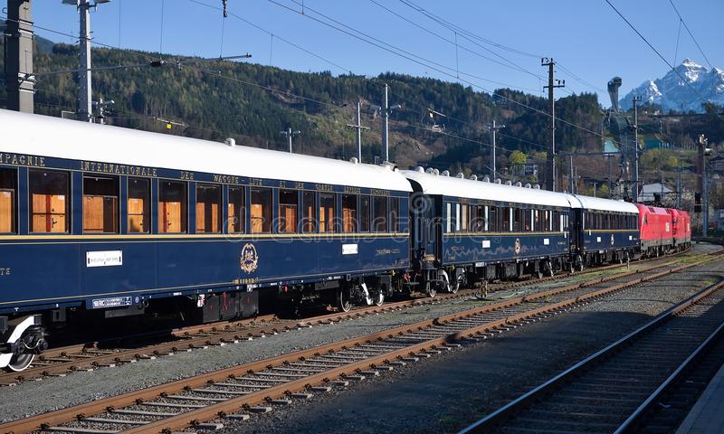 The Venice Simplon-Orient-Express in Innsbruck stock image