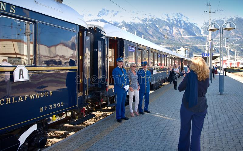 The Venice Simplon-Orient-Express - photo passengers are conductor. Conductors of The Orient Express (Venice-Simplon Orient Express ) ready for departure stock images