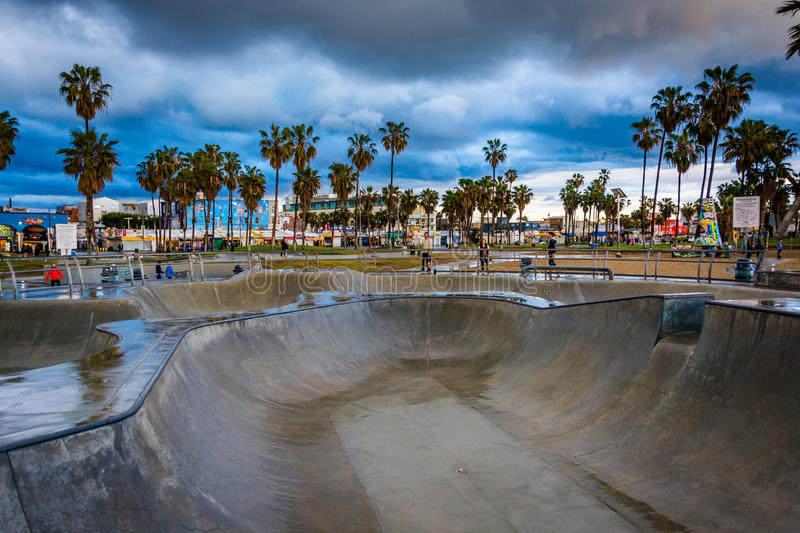 The Venice Skate Park at sunset, in Venice Beach. Los Angeles, California royalty free stock photography