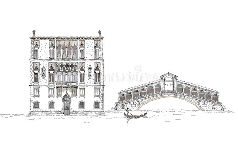 Venice sketch collection, Venice canal illustration. Venice sketch collection, Venice hotel and canal illustration vector illustration