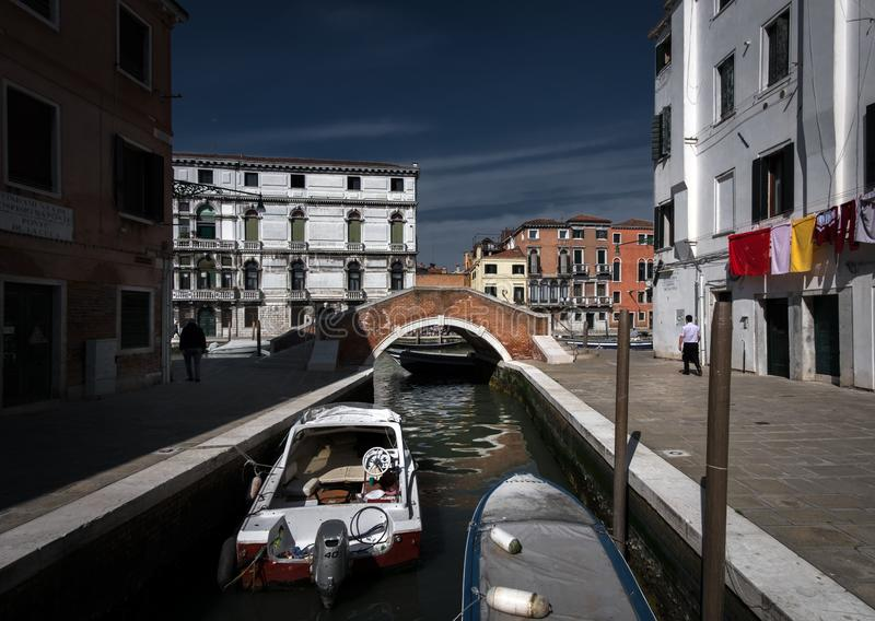 Venice. The streets of the old city. Linen is dried in the streets. The romance of Venice. Italy stock image