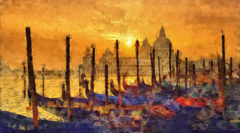 Venice on sunset. Grand Canal in Venice. Italy. Watercolor