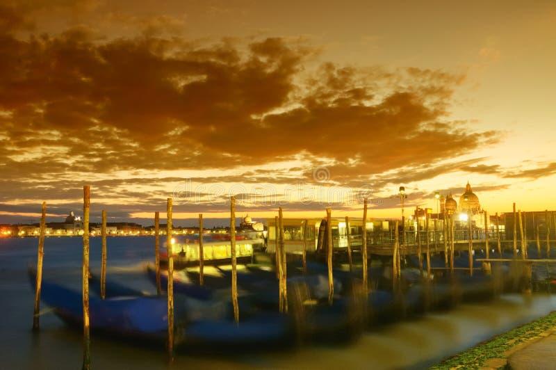VENICE SUNSET. Venice gondola on the sunset, Italy, beautiful royalty free stock photo