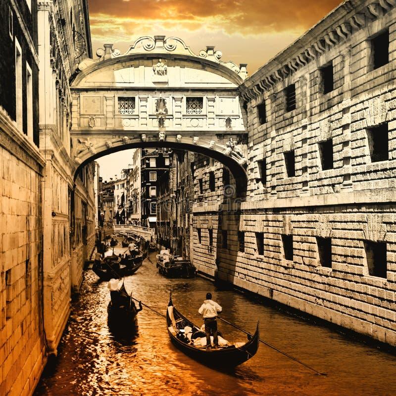 Venice on sunset. Bridge of sights stock images