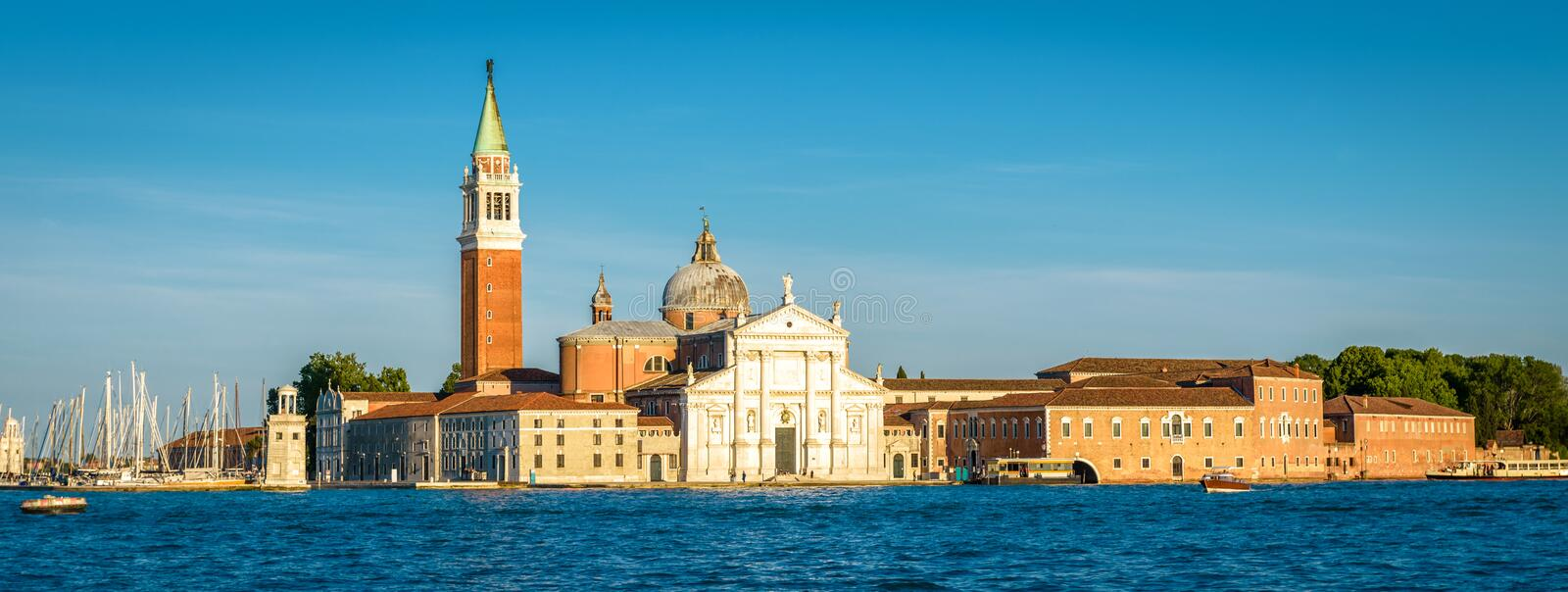 Venice at sunset, Italy. San Giorgio Maggiore island in Venetian lagoon. Panoramic view of marine Venice city. Beautiful landscape of Venice in summer stock images