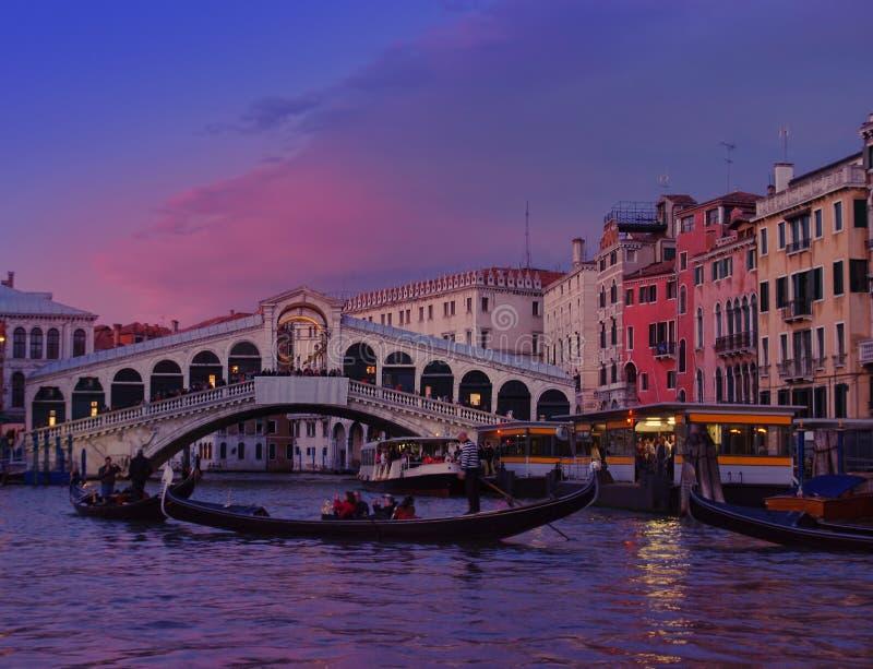 Venice at sunset. Rialto bridge royalty free stock photos