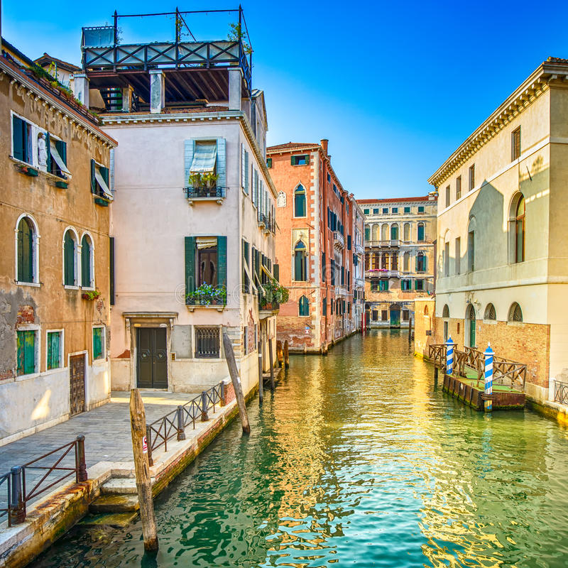 Venice sunset in Rio Greci water canal and and traditional buildings. Italy. Venice sunset cityscape, Rio dei Greci water canal and traditional buildings. Italy stock image
