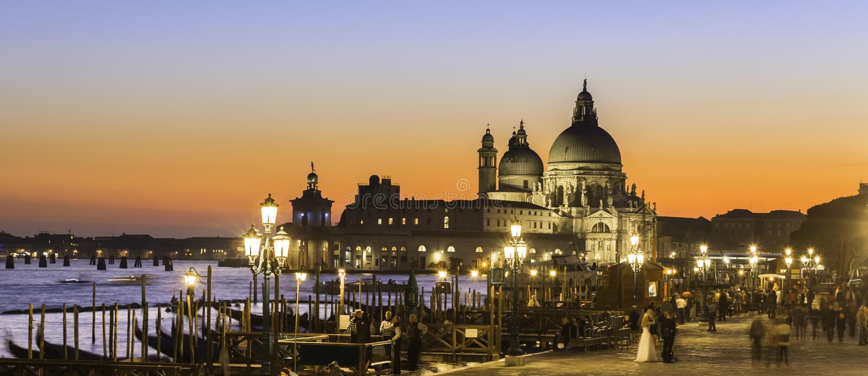 Venice in sunset. stock photos
