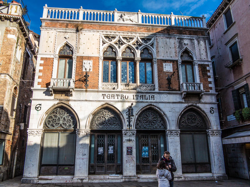 Venice Teatro Italia. Old building stock photography