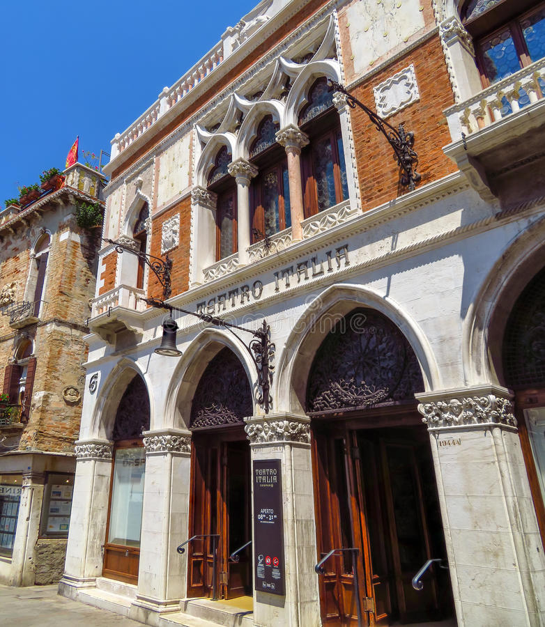 Venice - Teatro Italia. Venice, Italy - June 20, 2017: Facade of Teatro Italia also called the Cinema Italia in Venice, Italy royalty free stock photo