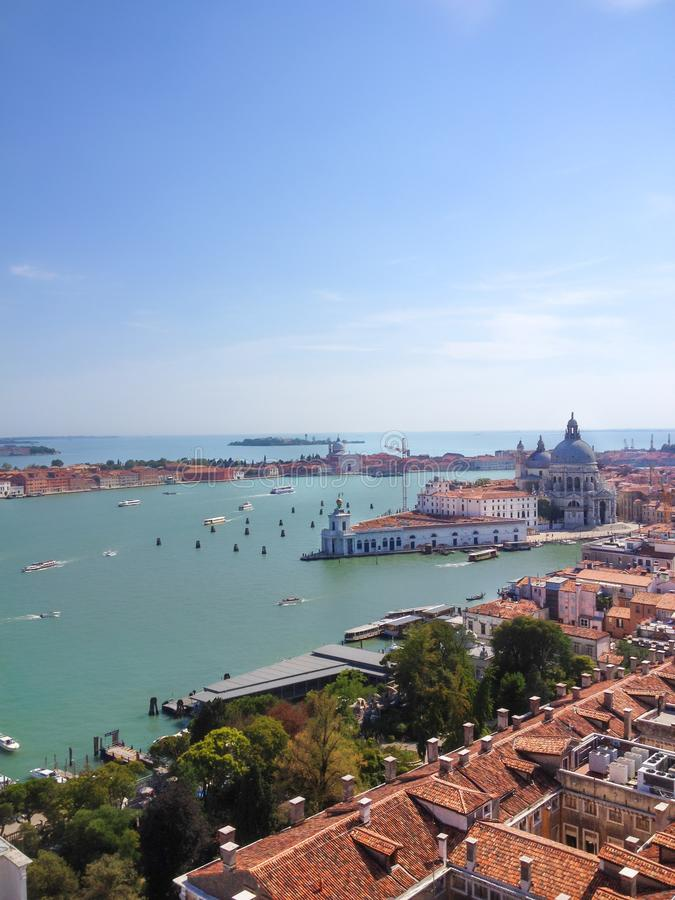 Venice Top aerial view from the bell tower of San Marco stock photography